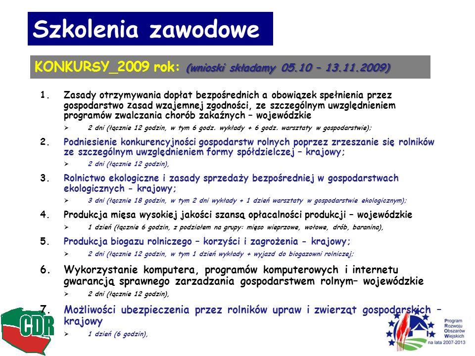 Szkolenia zawodowe (wnioski składamy 05.10 – 13.11.2009) KONKURSY_2009 rok: (wnioski składamy 05.10 – 13.11.2009) 1.Zasady otrzymywania dopłat bezpośrednich a obowiązek spełnienia przez gospodarstwo z asad wzajemnej zgodności, ze szczególnym uwzględnieniem programów zwalczania chorób zakaźnych – wojewódzkie 2 dni (łącznie 12 godzin, w tym 6 godz.