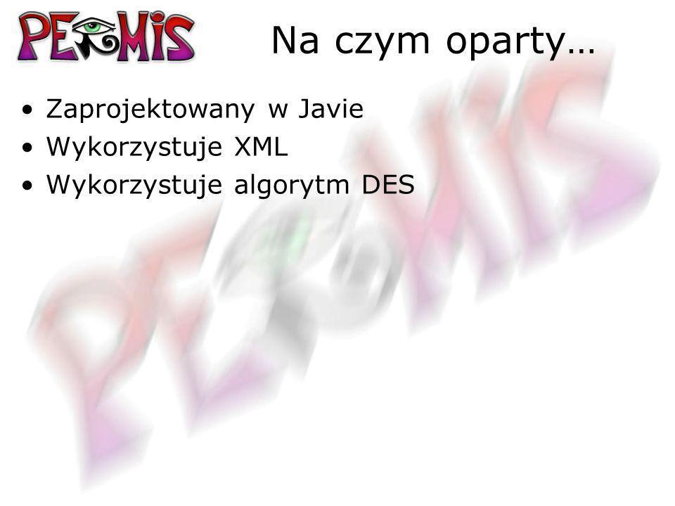 Na czym oparty… Zaprojektowany w Javie Wykorzystuje XML Wykorzystuje algorytm DES