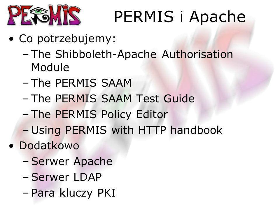 PERMIS i Apache Co potrzebujemy: –The Shibboleth-Apache Authorisation Module –The PERMIS SAAM –The PERMIS SAAM Test Guide –The PERMIS Policy Editor –Using PERMIS with HTTP handbook Dodatkowo –Serwer Apache –Serwer LDAP –Para kluczy PKI