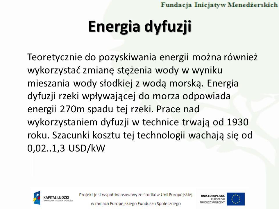 Teoretycznie do pozyskiwania energii można również wykorzystać zmianę stężenia wody w wyniku mieszania wody słodkiej z wodą morską. Energia dyfuzji rz