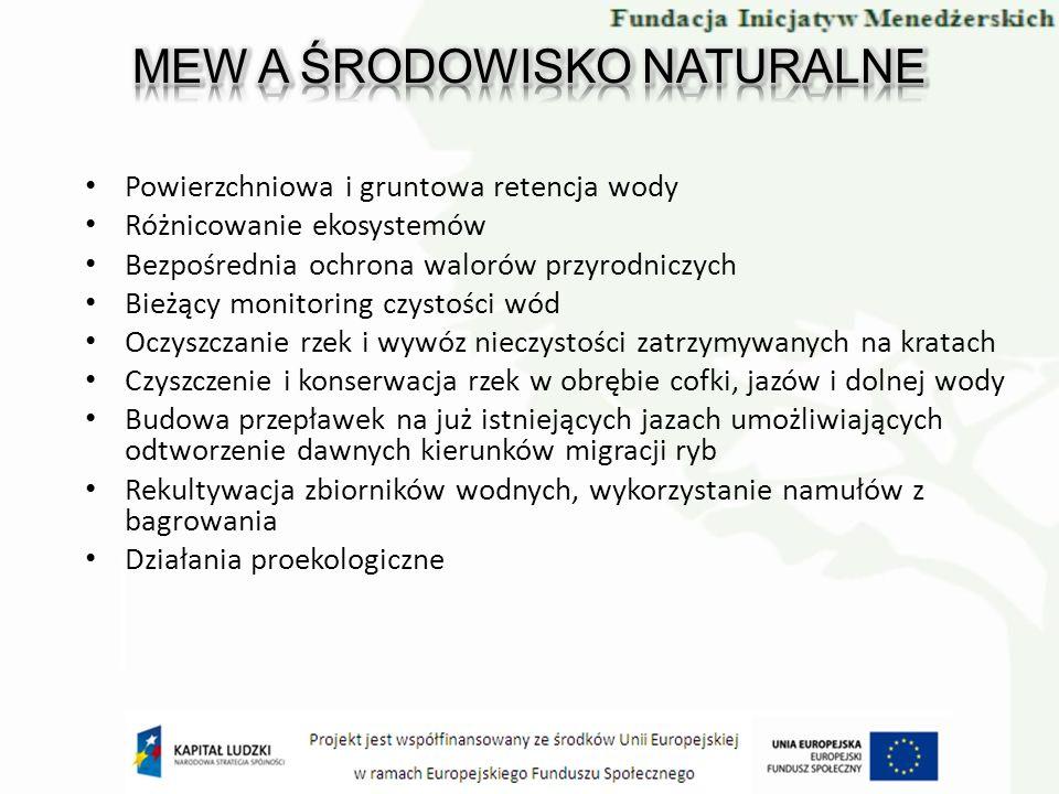 Powierzchniowa i gruntowa retencja wody Różnicowanie ekosystemów Bezpośrednia ochrona walorów przyrodniczych Bieżący monitoring czystości wód Oczyszcz