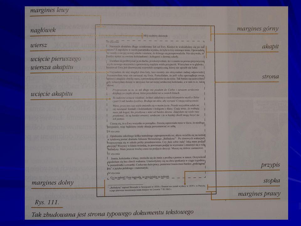 Poszczególne elementy strony: Strona dokumentu odpowiada kartce papieru, na której zostanie wydrukowany dokument.
