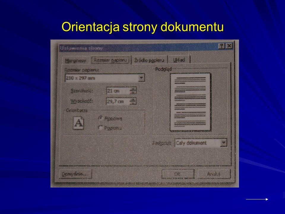 Orientacja strony dokumentu