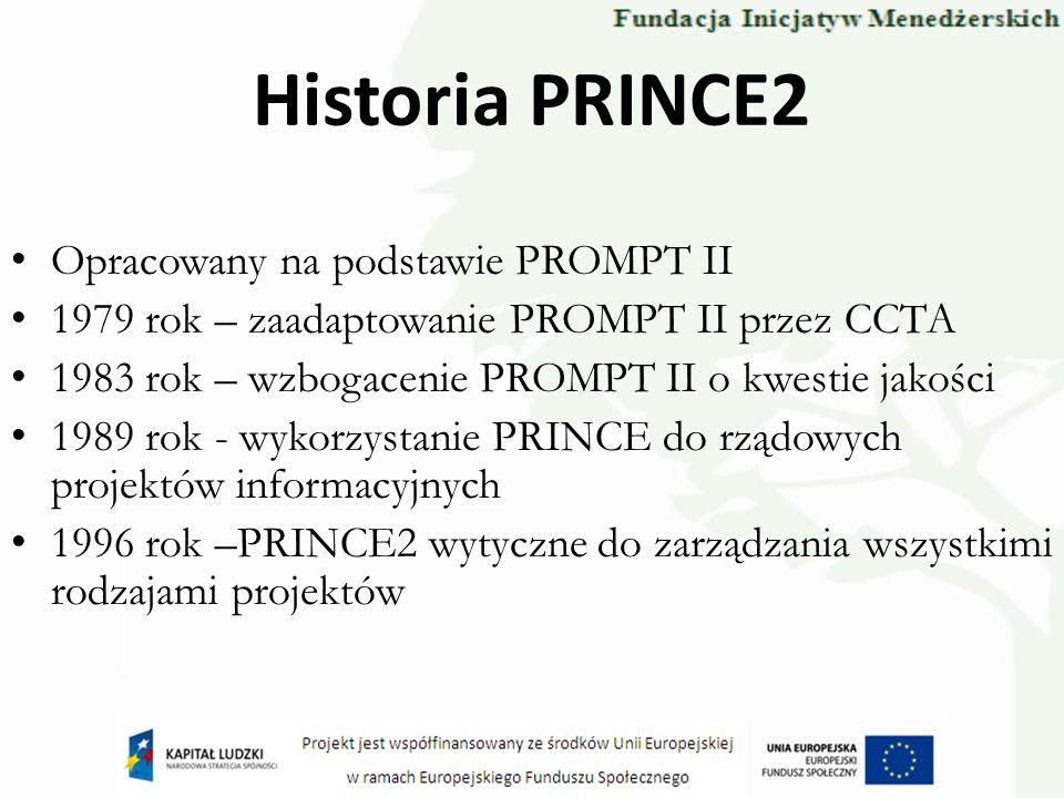 Historia PRINCE2 Opracowany na podstawie PROMPT II 1979 rok – zaadaptowanie PROMPT II przez CCTA 1983 rok – wzbogacenie PROMPT II o kwestie jakości 19