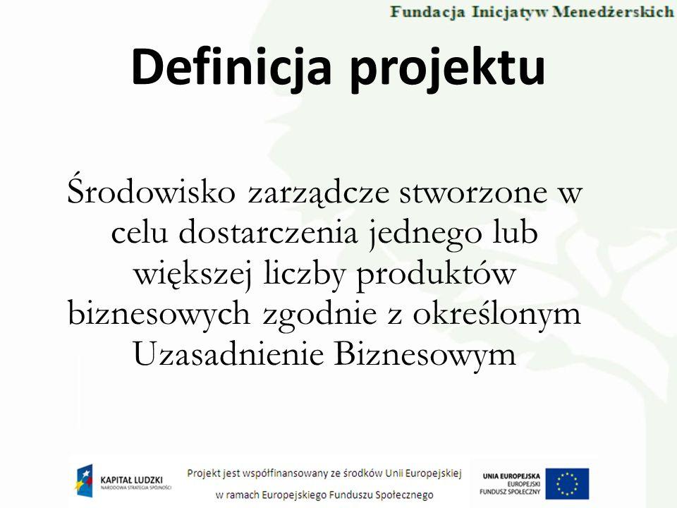 Definicja projektu Środowisko zarządcze stworzone w celu dostarczenia jednego lub większej liczby produktów biznesowych zgodnie z określonym Uzasadnie