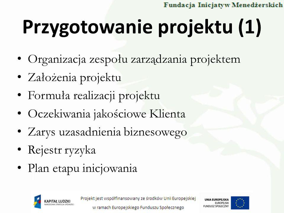 Przygotowanie projektu (1) Organizacja zespołu zarządzania projektem Założenia projektu Formuła realizacji projektu Oczekiwania jakościowe Klienta Zar