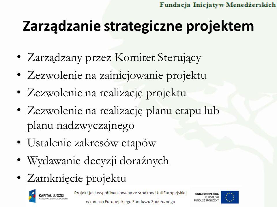 Zarządzanie strategiczne projektem Zarządzany przez Komitet Sterujący Zezwolenie na zainicjowanie projektu Zezwolenie na realizację projektu Zezwoleni