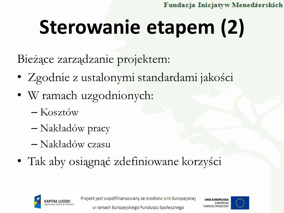 Sterowanie etapem (2) Bieżące zarządzanie projektem: Zgodnie z ustalonymi standardami jakości W ramach uzgodnionych: – Kosztów – Nakładów pracy – Nakł