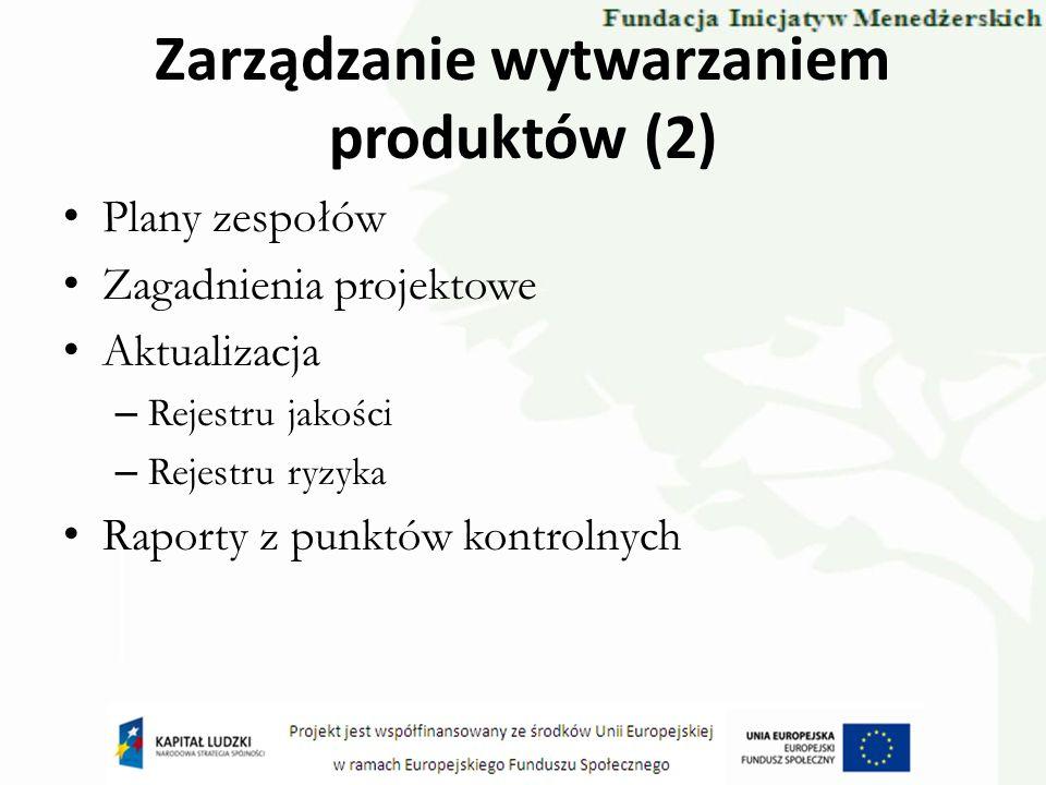 Zarządzanie wytwarzaniem produktów (2) Plany zespołów Zagadnienia projektowe Aktualizacja – Rejestru jakości – Rejestru ryzyka Raporty z punktów kontr