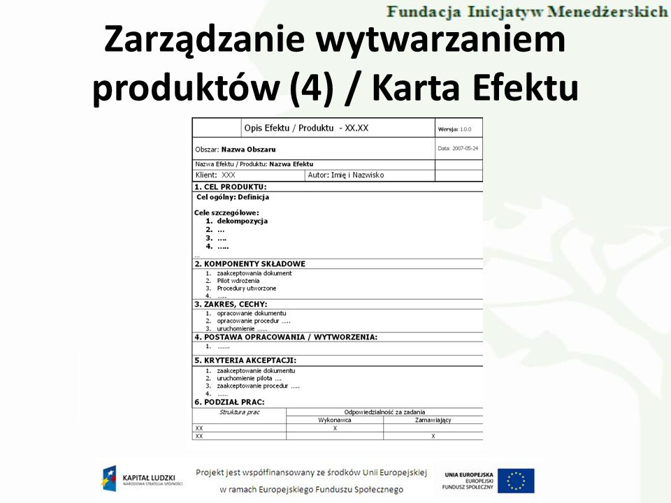 Zarządzanie wytwarzaniem produktów (4) / Karta Efektu