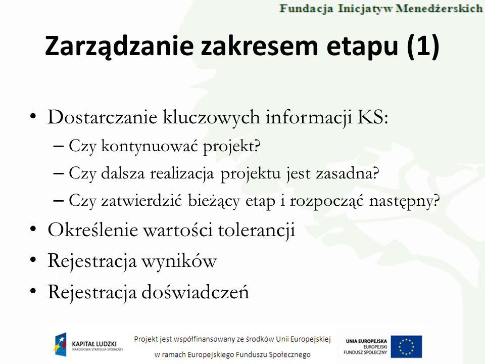 Zarządzanie zakresem etapu (1) Dostarczanie kluczowych informacji KS: – Czy kontynuować projekt? – Czy dalsza realizacja projektu jest zasadna? – Czy