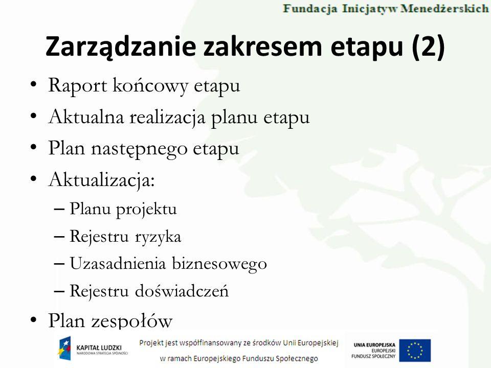 Zarządzanie zakresem etapu (2) Raport końcowy etapu Aktualna realizacja planu etapu Plan następnego etapu Aktualizacja: – Planu projektu – Rejestru ry