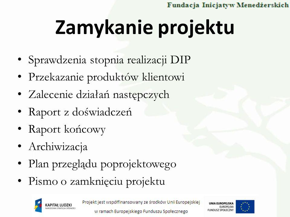 Zamykanie projektu Sprawdzenia stopnia realizacji DIP Przekazanie produktów klientowi Zalecenie działań następczych Raport z doświadczeń Raport końcow