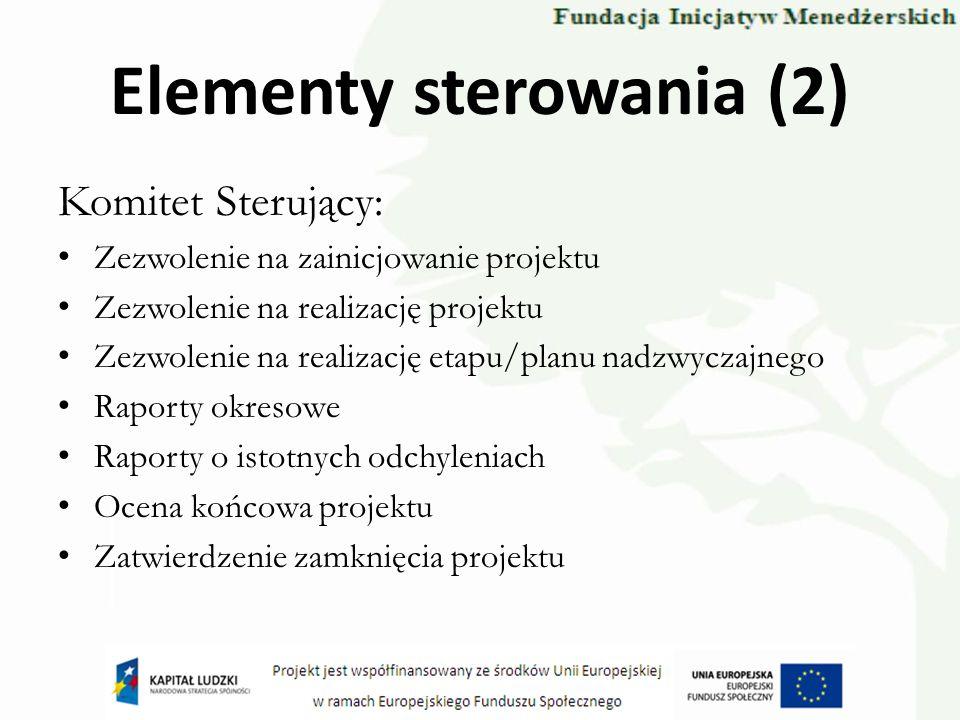 Elementy sterowania (2) Komitet Sterujący: Zezwolenie na zainicjowanie projektu Zezwolenie na realizację projektu Zezwolenie na realizację etapu/planu