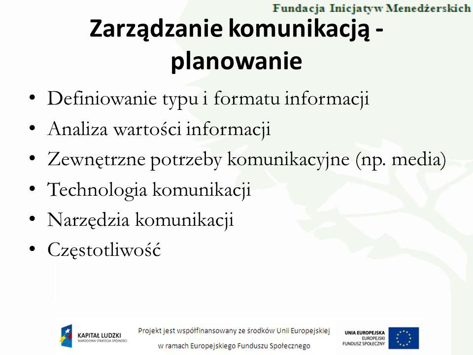 Zarządzanie komunikacją - planowanie Definiowanie typu i formatu informacji Analiza wartości informacji Zewnętrzne potrzeby komunikacyjne (np. media)