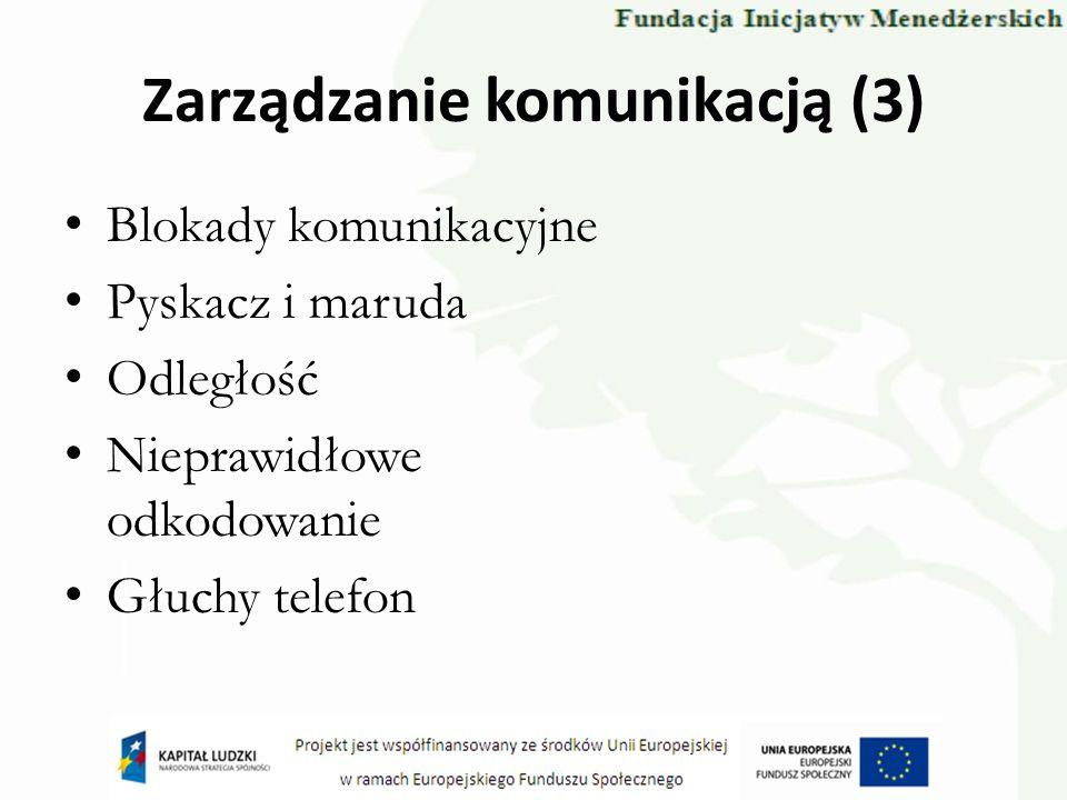 Zarządzanie komunikacją (3) Blokady komunikacyjne Pyskacz i maruda Odległość Nieprawidłowe odkodowanie Głuchy telefon