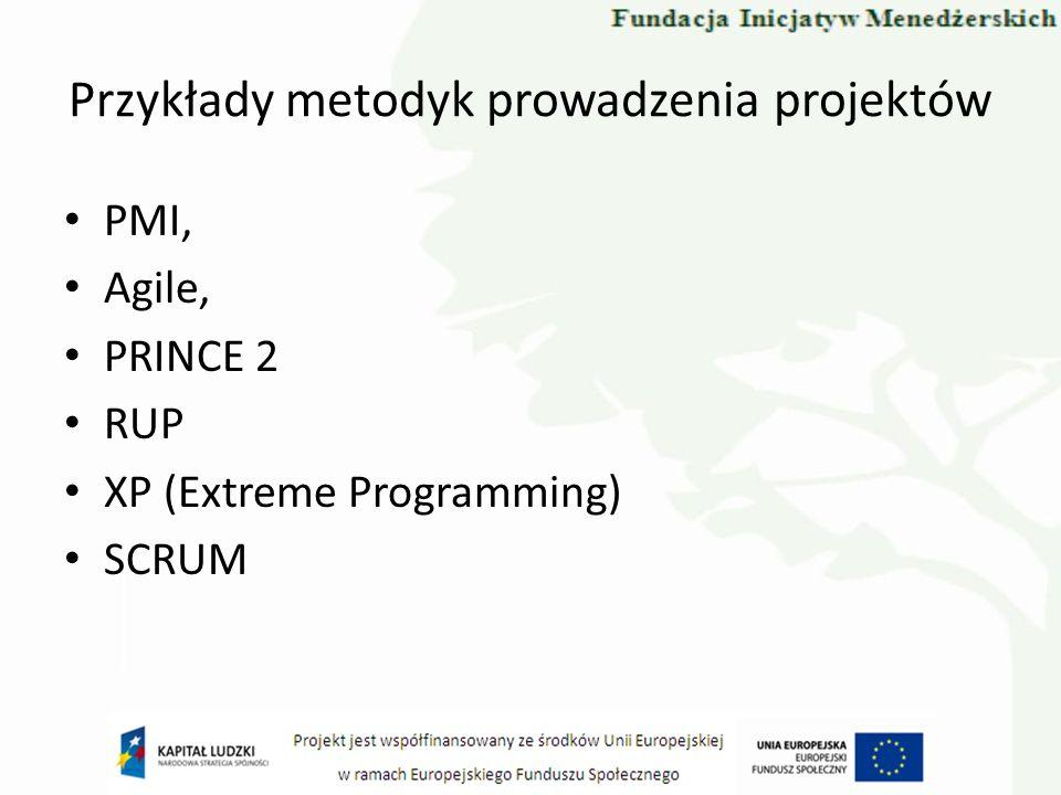 Przykłady metodyk prowadzenia projektów PMI, Agile, PRINCE 2 RUP XP (Extreme Programming) SCRUM