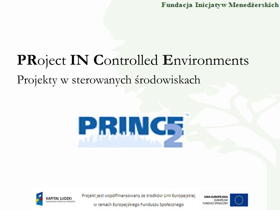 Procesy Zarządzanie strategiczne projektem Sterowanie etapem Przygotowanie projektu Planowanie Zarządzanie zakresem etapu Zamykanie projektu Zarządzanie wytwarzaniem produktów Inicjowanie projektu