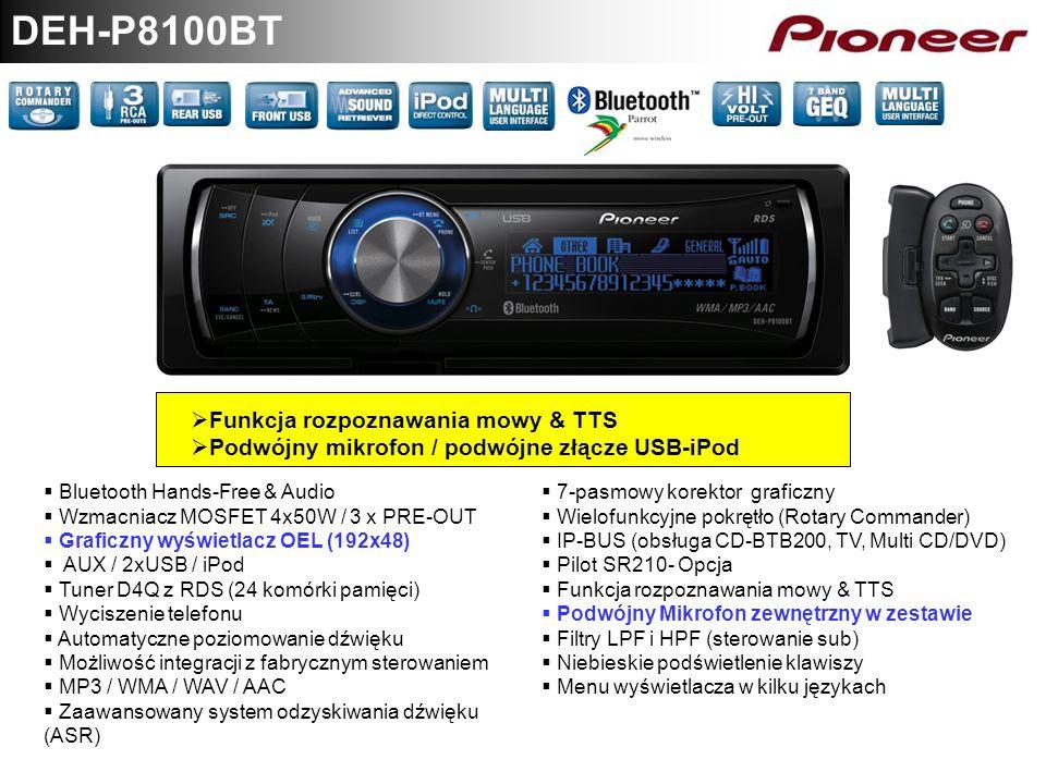 DEH-P8100BT Funkcja rozpoznawania mowy & TTS Podwójny mikrofon / podwójne złącze USB-iPod Bluetooth Hands-Free & Audio Wzmacniacz MOSFET 4x50W / 3 x P