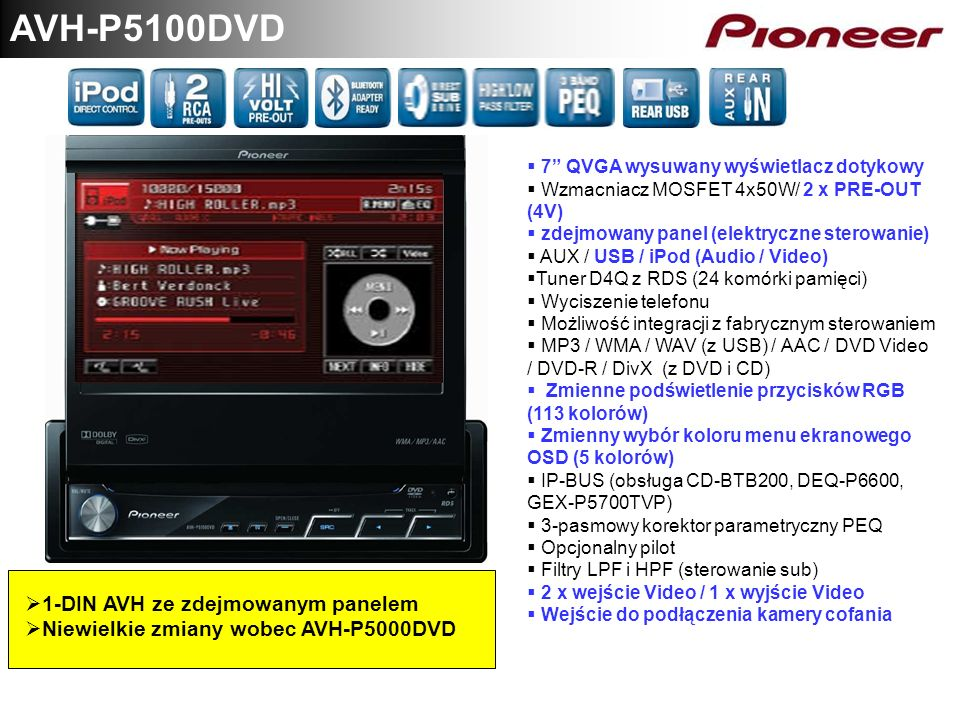 AVH-P5100DVD 1-DIN AVH ze zdejmowanym panelem Niewielkie zmiany wobec AVH-P5000DVD 7 QVGA wysuwany wyświetlacz dotykowy Wzmacniacz MOSFET 4x50W/ 2 x P