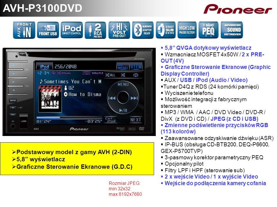 AVH-P3100DVD Podstawowy model z gamy AVH (2-DIN) 5,8 wyświetlacz Graficzne Sterowanie Ekranowe (G.D.C) 5,8 QVGA dotykowy wyświetlacz Wzmacniacz MOSFET