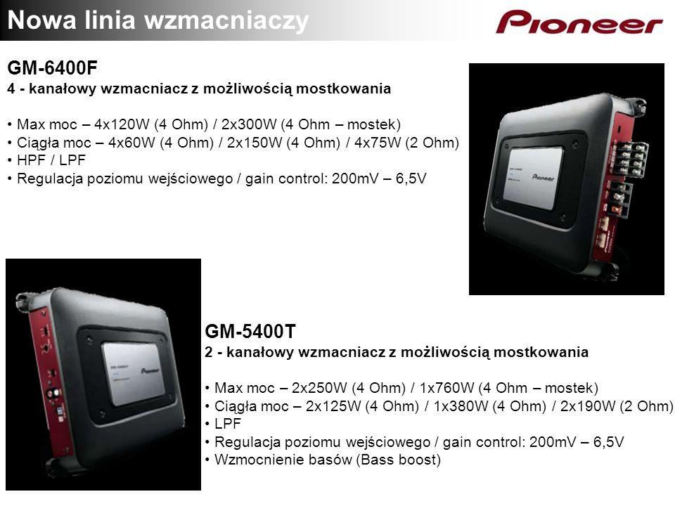 Nowa linia wzmacniaczy GM-6400F 4 - kanałowy wzmacniacz z możliwością mostkowania Max moc – 4x120W (4 Ohm) / 2x300W (4 Ohm – mostek) Ciągła moc – 4x60