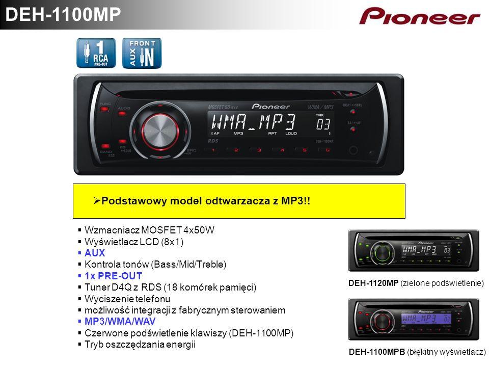 DEH-1100MP Podstawowy model odtwarzacza z MP3!! Wzmacniacz MOSFET 4x50W Wyświetlacz LCD (8x1) AUX Kontrola tonów (Bass/Mid/Treble) 1x PRE-OUT Tuner D4