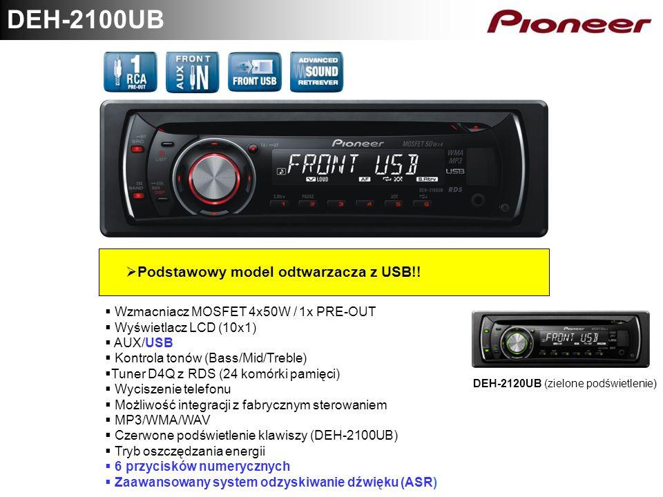 DEH-2100UB Podstawowy model odtwarzacza z USB!! Wzmacniacz MOSFET 4x50W / 1x PRE-OUT Wyświetlacz LCD (10x1) AUX/USB Kontrola tonów (Bass/Mid/Treble) T
