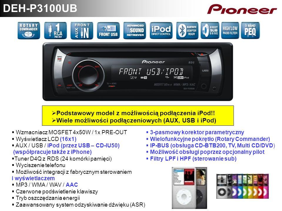 DEH-P3100UB Podstawowy model z możliwością podłączenia iPod!! Wiele możliwości podłączeniowych (AUX, USB i iPod) Wzmacniacz MOSFET 4x50W / 1x PRE-OUT