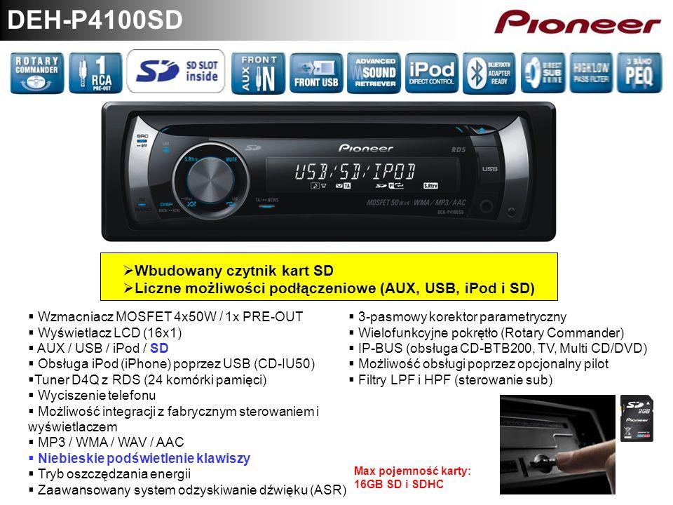 DEH-P4100SD Wbudowany czytnik kart SD Liczne możliwości podłączeniowe (AUX, USB, iPod i SD) Wzmacniacz MOSFET 4x50W / 1x PRE-OUT Wyświetlacz LCD (16x1