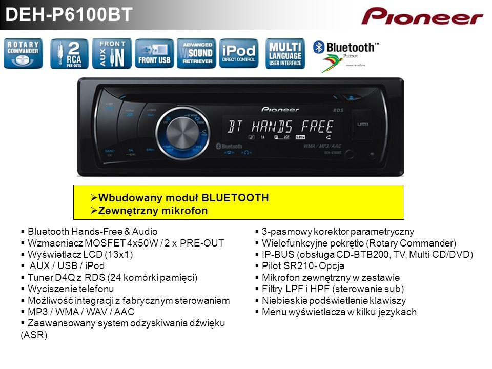 DEH-P6100BT Wbudowany moduł BLUETOOTH Zewnętrzny mikrofon Bluetooth Hands-Free & Audio Wzmacniacz MOSFET 4x50W / 2 x PRE-OUT Wyświetlacz LCD (13x1) AU