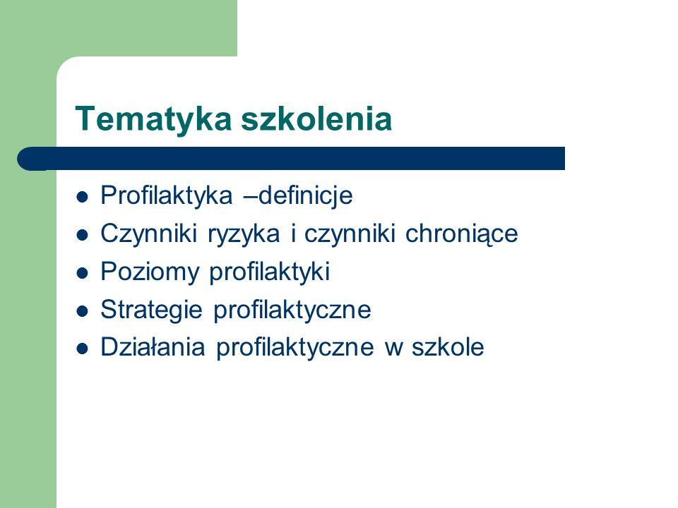 Tematyka szkolenia Profilaktyka –definicje Czynniki ryzyka i czynniki chroniące Poziomy profilaktyki Strategie profilaktyczne Działania profilaktyczne