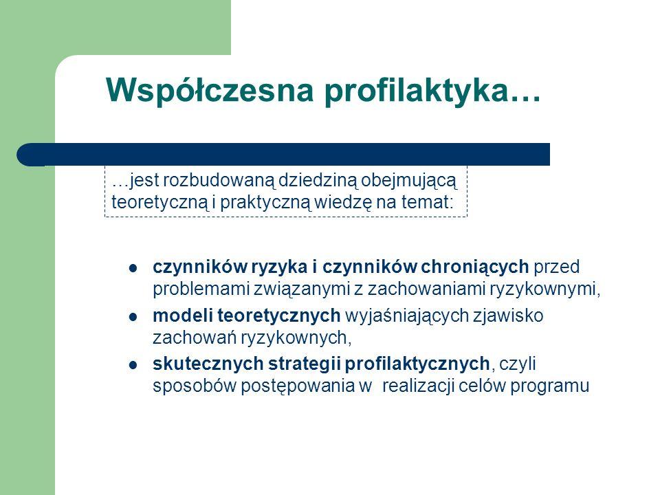 Profilaktyka to: Eliminacja lub redukcja czynników ryzyka Wzmacnianie czynników chroniących