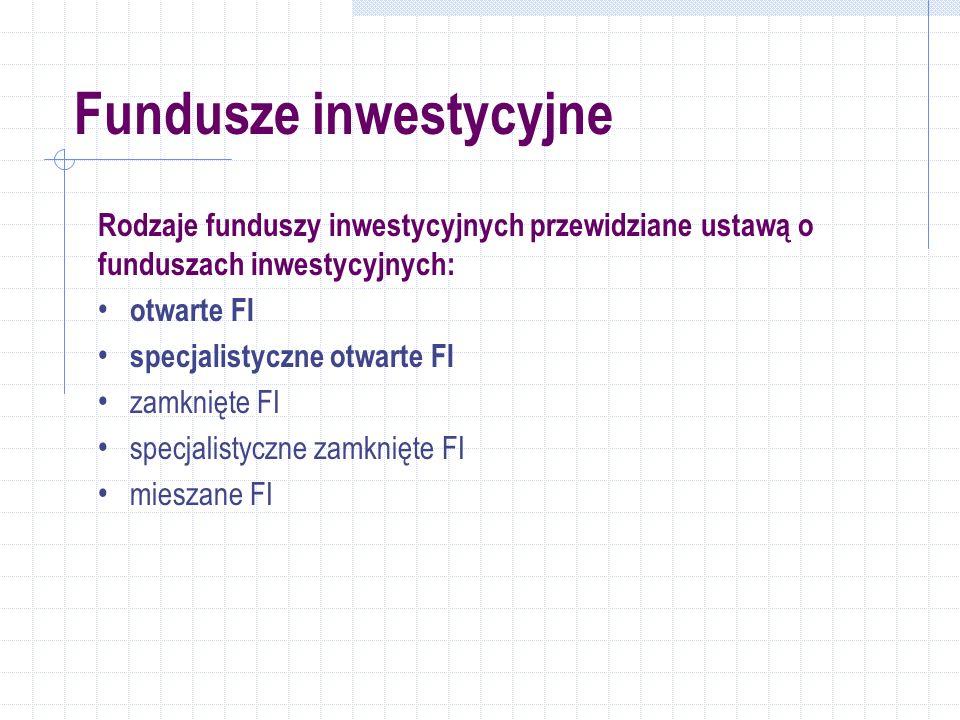 Rodzaje funduszy inwestycyjnych przewidziane ustawą o funduszach inwestycyjnych: otwarte FI specjalistyczne otwarte FI zamknięte FI specjalistyczne zamknięte FI mieszane FI
