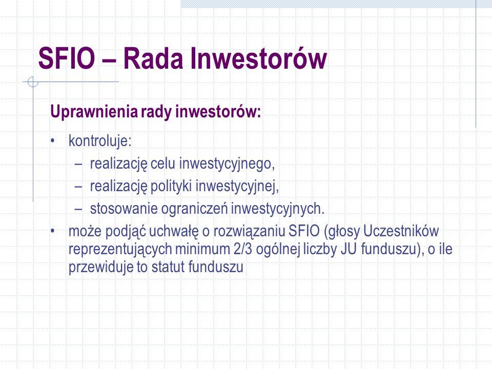 SFIO – Rada Inwestorów Uprawnienia rady inwestorów: kontroluje: –realizację celu inwestycyjnego, –realizację polityki inwestycyjnej, –stosowanie ograniczeń inwestycyjnych.