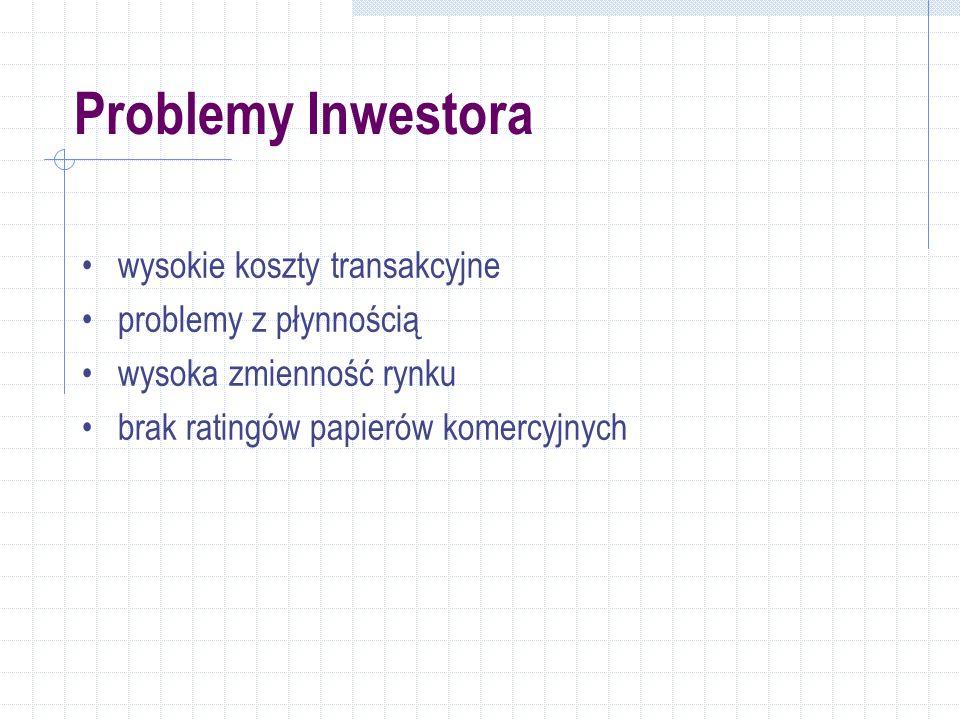 Problemy Inwestora wysokie koszty transakcyjne problemy z płynnością wysoka zmienność rynku brak ratingów papierów komercyjnych