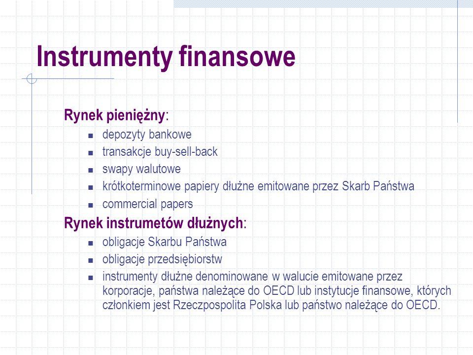 Instrumenty finansowe Rynek pieniężny : depozyty bankowe transakcje buy-sell-back swapy walutowe krótkoterminowe papiery dłużne emitowane przez Skarb Państwa commercial papers Rynek instrumetów dłużnych : obligacje Skarbu Państwa obligacje przedsiębiorstw instrumenty dłużne denominowane w walucie emitowane przez korporacje, państwa należące do OECD lub instytucje finansowe, których członkiem jest Rzeczpospolita Polska lub państwo należące do OECD.