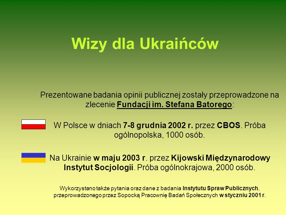Wizy dla Ukraińców Prezentowane badania opinii publicznej zostały przeprowadzone na zlecenie Fundacji im.