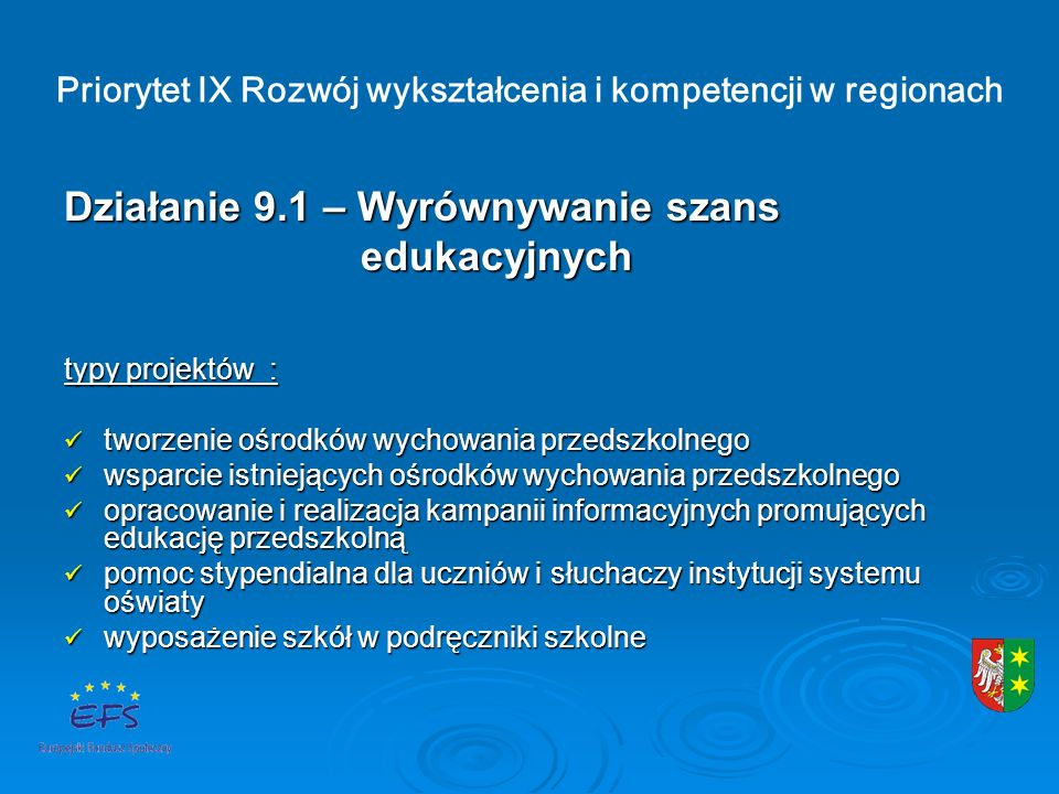 Priorytet IX Rozwój wykształcenia i kompetencji w regionach Działanie 9.1 – Wyrównywanie szans edukacyjnych edukacyjnych typy projektów : tworzenie ośrodków wychowania przedszkolnego tworzenie ośrodków wychowania przedszkolnego wsparcie istniejących ośrodków wychowania przedszkolnego wsparcie istniejących ośrodków wychowania przedszkolnego opracowanie i realizacja kampanii informacyjnych promujących edukację przedszkolną opracowanie i realizacja kampanii informacyjnych promujących edukację przedszkolną pomoc stypendialna dla uczniów i słuchaczy instytucji systemu oświaty pomoc stypendialna dla uczniów i słuchaczy instytucji systemu oświaty wyposażenie szkół w podręczniki szkolne wyposażenie szkół w podręczniki szkolne