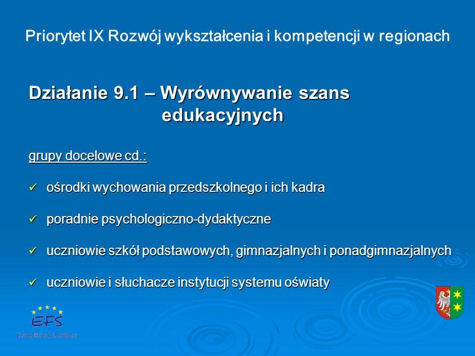 Priorytet IX Rozwój wykształcenia i kompetencji w regionach Działanie 9.1 – Wyrównywanie szans edukacyjnych edukacyjnych grupy docelowe cd.: ośrodki wychowania przedszkolnego i ich kadra ośrodki wychowania przedszkolnego i ich kadra poradnie psychologiczno-dydaktyczne poradnie psychologiczno-dydaktyczne uczniowie szkół podstawowych, gimnazjalnych i ponadgimnazjalnych uczniowie szkół podstawowych, gimnazjalnych i ponadgimnazjalnych uczniowie i słuchacze instytucji systemu oświaty uczniowie i słuchacze instytucji systemu oświaty