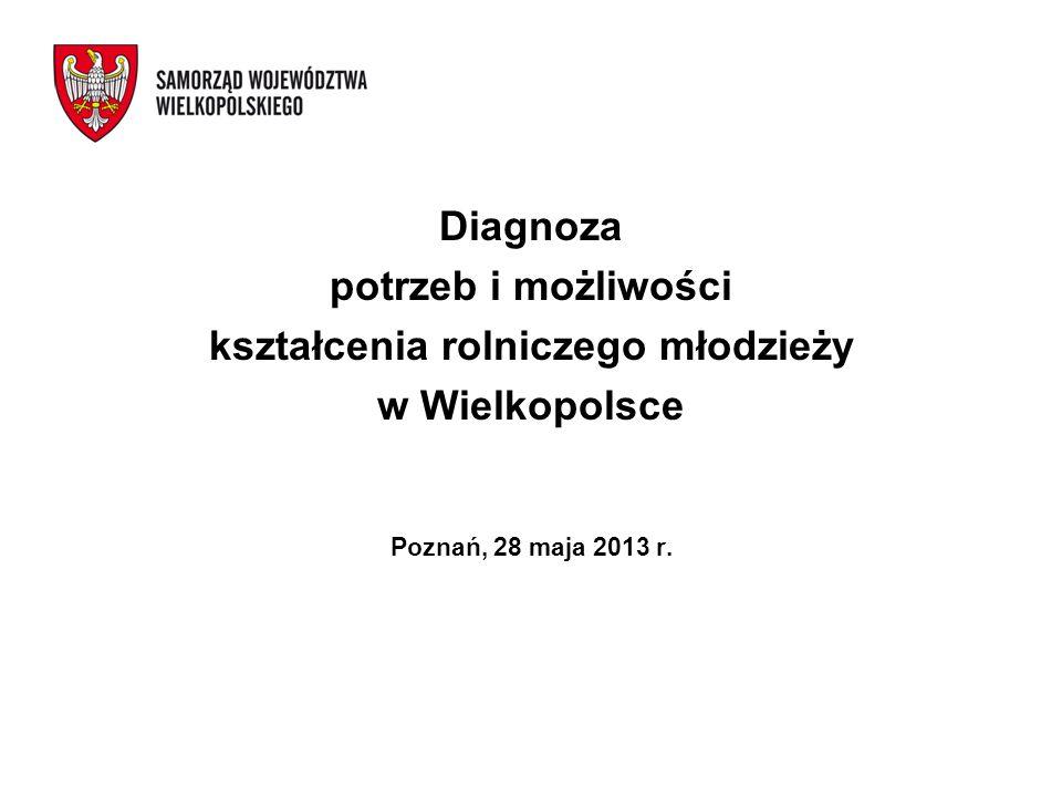 Diagnoza potrzeb i możliwości kształcenia rolniczego młodzieży w Wielkopolsce Poznań, 28 maja 2013 r.