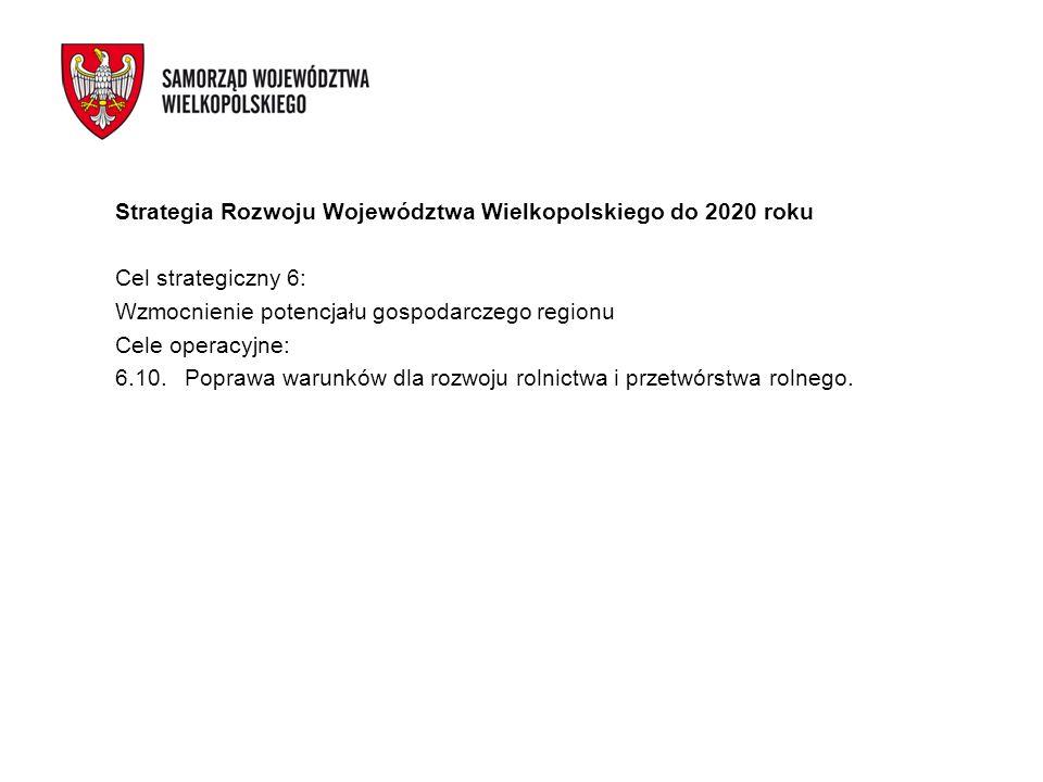 Strategia Rozwoju Województwa Wielkopolskiego do 2020 roku Cel strategiczny 6: Wzmocnienie potencjału gospodarczego regionu Cele operacyjne: 6.10.Popr