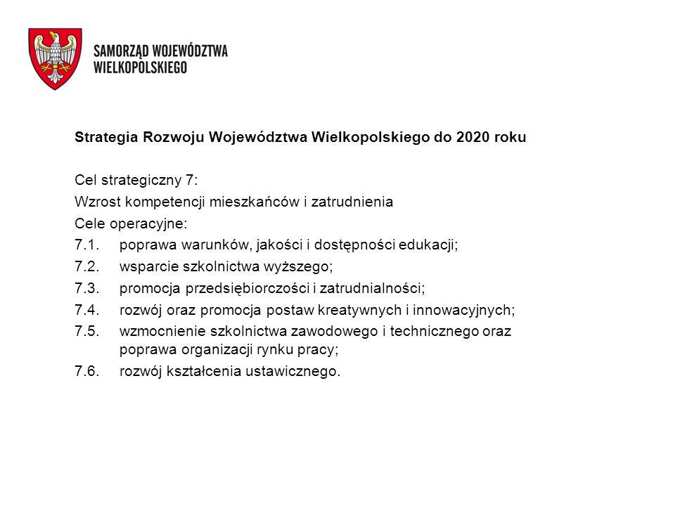 Strategia Rozwoju Województwa Wielkopolskiego do 2020 roku Cel strategiczny 7: Wzrost kompetencji mieszkańców i zatrudnienia Cele operacyjne: 7.1.popr