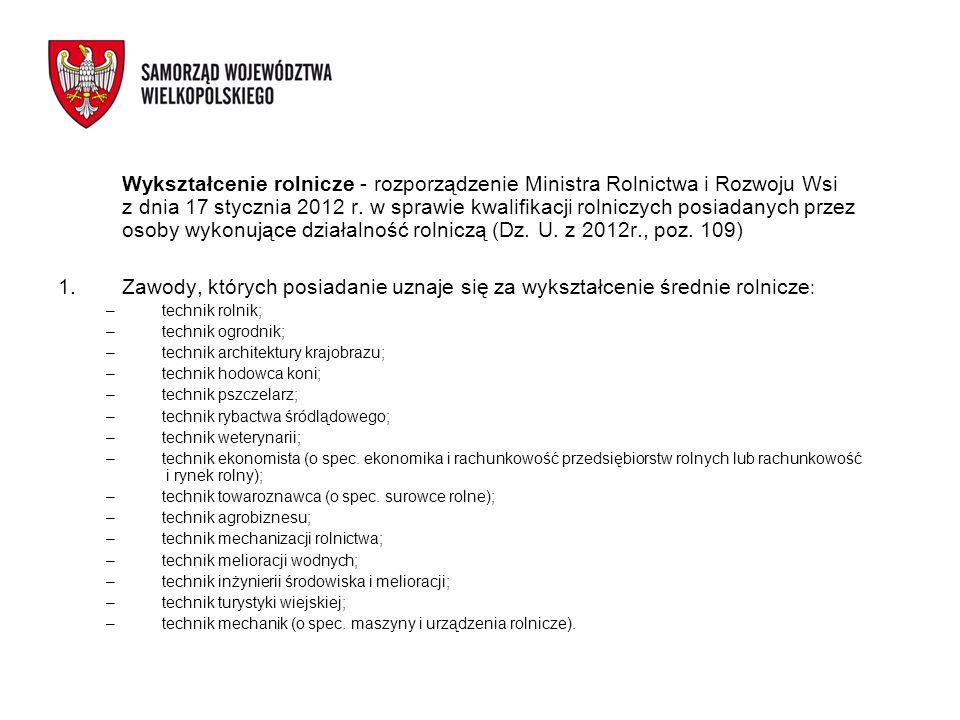 Wykształcenie rolnicze - rozporządzenie Ministra Rolnictwa i Rozwoju Wsi z dnia 17 stycznia 2012 r. w sprawie kwalifikacji rolniczych posiadanych prze