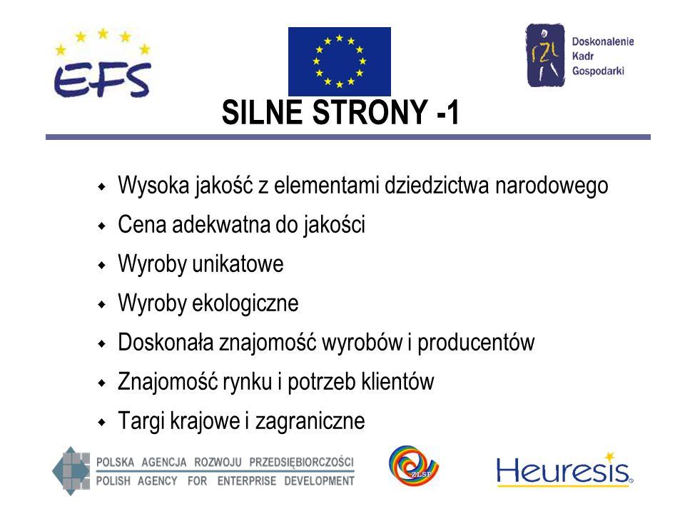 SILNE STRONY -1 Wysoka jakość z elementami dziedzictwa narodowego Cena adekwatna do jakości Wyroby unikatowe Wyroby ekologiczne Doskonała znajomość wyrobów i producentów Znajomość rynku i potrzeb klientów Targi krajowe i zagraniczne