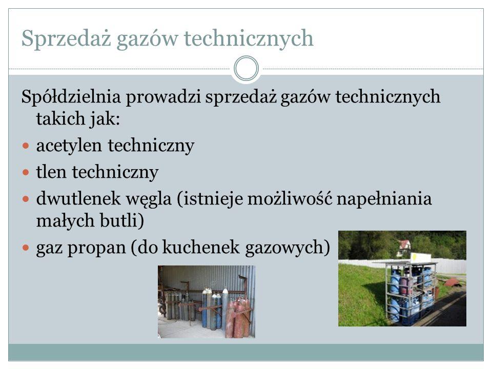 Sprzedaż gazów technicznych Spółdzielnia prowadzi sprzedaż gazów technicznych takich jak: acetylen techniczny tlen techniczny dwutlenek węgla (istniej