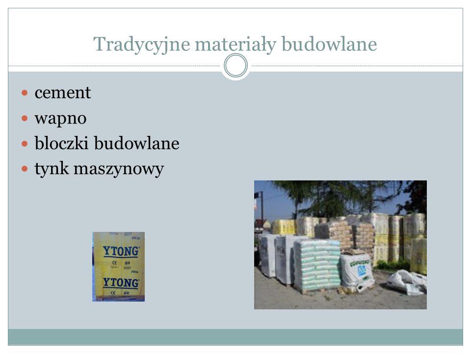 Tradycyjne materiały budowlane cement wapno bloczki budowlane tynk maszynowy