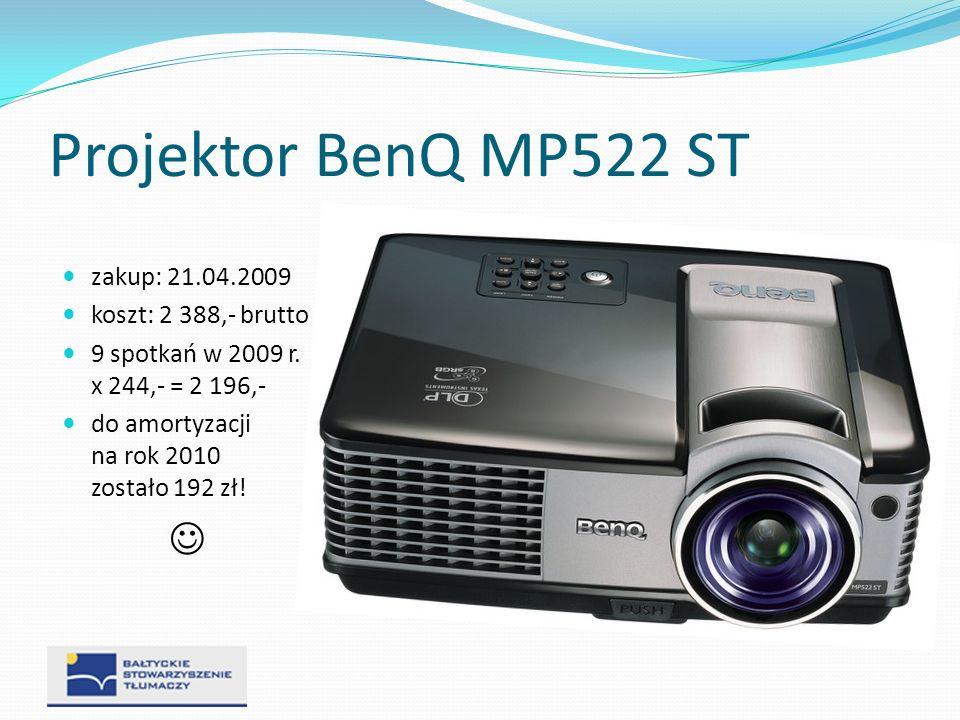 Projektor BenQ MP522 ST zakup: 21.04.2009 koszt: 2 388,- brutto 9 spotkań w 2009 r. x 244,- = 2 196,- do amortyzacji na rok 2010 zostało 192 zł!