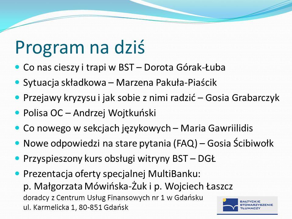 Program na dziś Co nas cieszy i trapi w BST – Dorota Górak-Łuba Sytuacja składkowa – Marzena Pakuła-Piaścik Przejawy kryzysu i jak sobie z nimi radzić