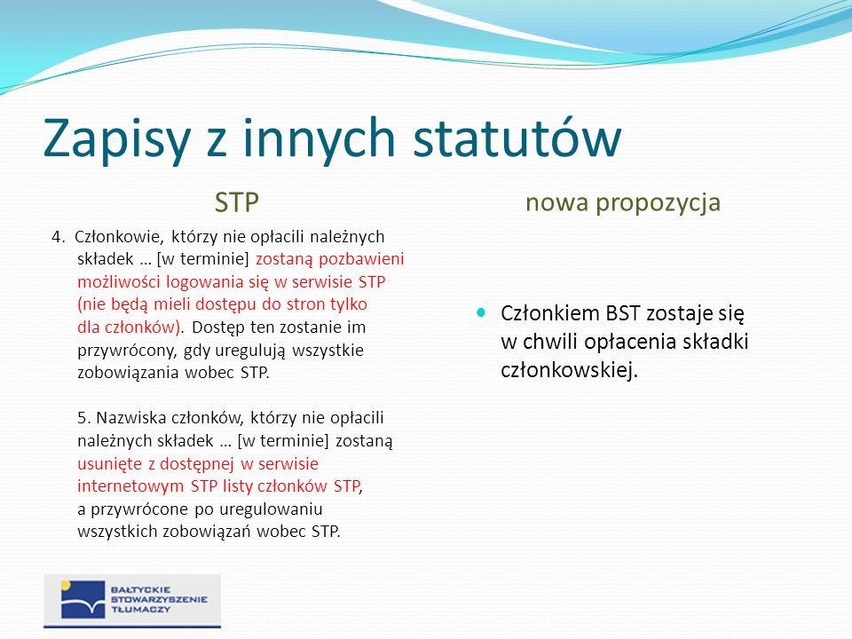 Zapisy z innych statutów STP 4. Członkowie, którzy nie opłacili należnych składek … [w terminie] zostaną pozbawieni możliwości logowania się w serwisi